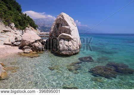 Dalmatia Adriatic Coast With Limestone Rocks. Croatia Coast Summer Landscape. Beaches And Coast Of M