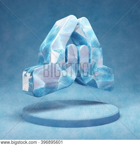 Praying Hands Icon. Cracked Blue Ice Praying Hands Symbol On Blue Snow Podium. Social Media Icon For