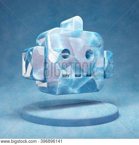 Robot Icon. Cracked Blue Ice Robot Symbol On Blue Snow Podium. Social Media Icon For Website, Presen