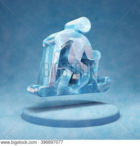 Skiing Nordic Icon. Cracked Blue Ice Skiing Nordic Symbol On Blue Snow Podium. Social Media Icon For