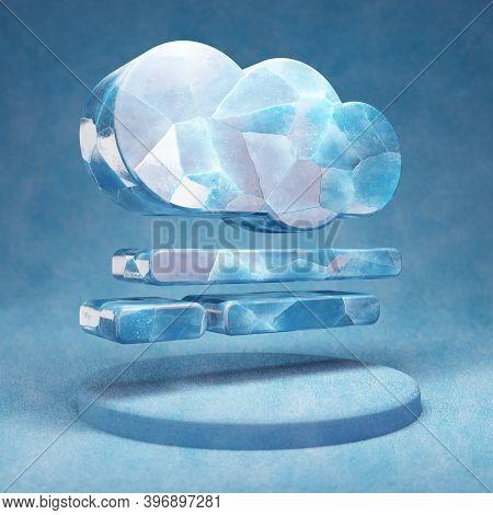 Smog Icon. Cracked Blue Ice Smog Symbol On Blue Snow Podium. Social Media Icon For Website, Presenta
