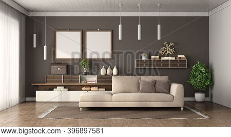 Modern Living Room With Brown Wall, Sofa And Sideboard On Background - 3d Rendering