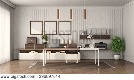 Modern Office Interior With Desk ,sideboard And Wooden Wall On Background - 3d Rendering