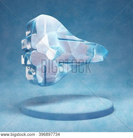 Space Shuttle Icon. Cracked Blue Ice Space Shuttle Symbol On Blue Snow Podium. Social Media Icon For