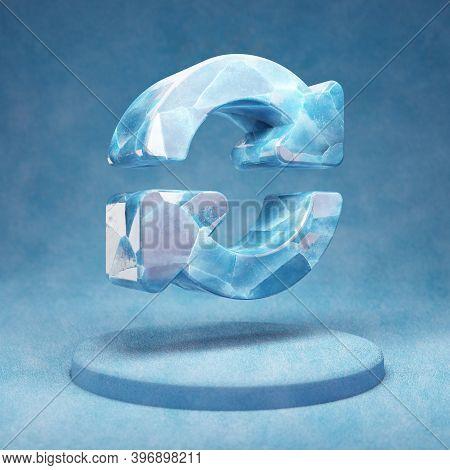 Sync Icon. Cracked Blue Ice Sync Symbol On Blue Snow Podium. Social Media Icon For Website, Presenta