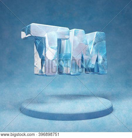 Trademark Icon. Cracked Blue Ice Trademark Symbol On Blue Snow Podium. Social Media Icon For Website