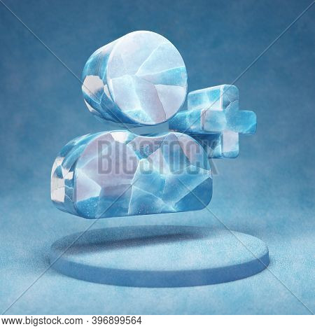 Add User Icon. Cracked Blue Ice Add User Symbol On Blue Snow Podium. Social Media Icon For Website,