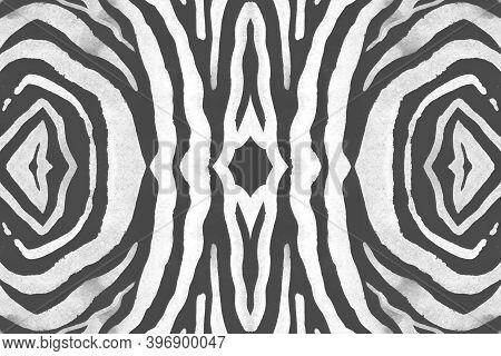 Seamless Zebra Lines. Abstract Safari Banner. Watercolor Wild Print. Gray Cheetah Background. Black
