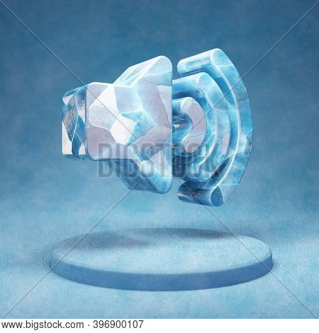 Volume Up Icon. Cracked Blue Ice Volume Up Symbol On Blue Snow Podium. Social Media Icon For Website