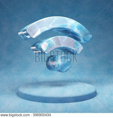 Wi-fi Icon. Cracked Blue Ice Wi-fi Symbol On Blue Snow Podium. Social Media Icon For Website, Presen