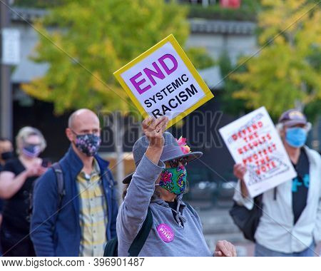 San Francisco, Ca - Nov 4, 2020: Unidentified Participants Of The Defend The Vote Rally In San Franc
