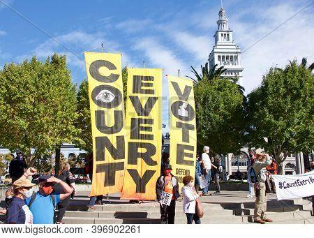 San Francisco, Ca - Nov 7, 2020: Unidentified Participants Celebrating The Announcement That Joe Bid