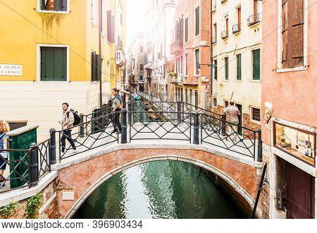 Venice, Italy - September 23, 2019: Tourists Walking On Bridge Of Venice, Italy. Beautiful Venice Vi
