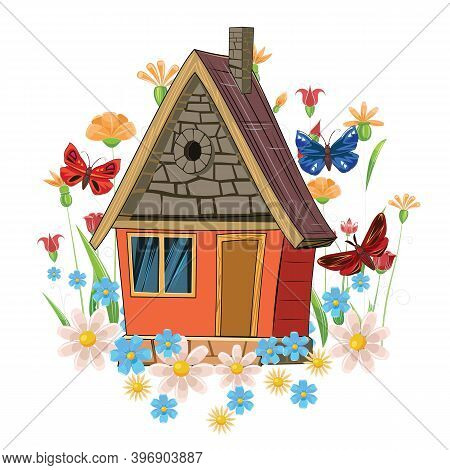 Stone House. Fabulous Cartoon Object. Cute Childish Style. Ancient Dwelling. Tiny, Small. Against Th