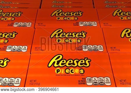Alameda, Ca - Nov 9, 2020: Store Shelf Display With Boxes Of Reeses Pieces Peanut Butter Candy In A