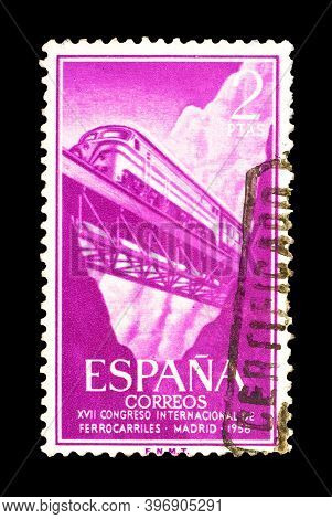 Spain - Circa 1958 : Cancelled Postage Stamp Printed By Spain That Shows Train Crossing The Bridge A