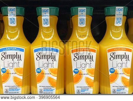 Alameda, Ca - Nov 16, 2020: Grocery Store Shelf With Simply Light Orange Juice. With Pulp And Pulp F