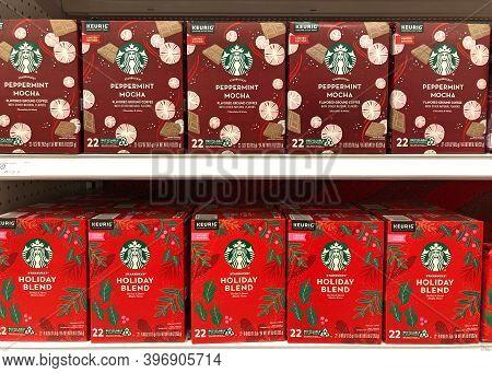 Alameda, Ca - Nov 18, 2020: Grocery Store Shelf Boxes Of Keurig Genuine K Cup Pods, Starbucks Pepper
