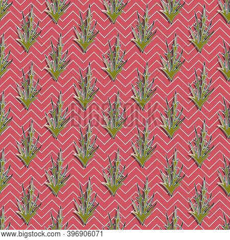Olive Thorns Seamless Pattern With Dark And Light Strokes, Terracotta Background With White Zigzags.