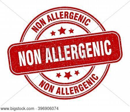 Non Allergenic Stamp. Non Allergenic Sign. Round Grunge Label
