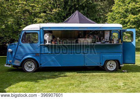 Banchory, Scotland - August 10, 2019: Legendary French Citroen Type H Van In A Park Providing Snacks