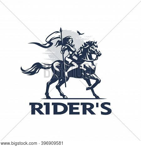 A Woman Rider, A Knight, With A Flag In Her Hands, In Armor, Riding A Horse. Against The Background