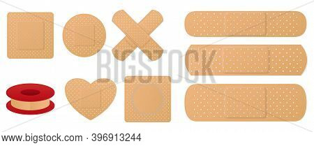 Set Of Medical Band Plaster Or First Aid Medical Adhesive Bandages Or Medical Patch Plasters Concept