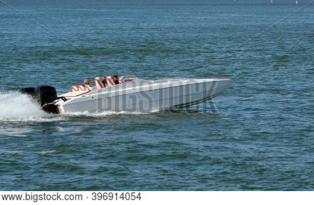 High-end Power Motor Boat With Two 300horse Power Outboard Engines.