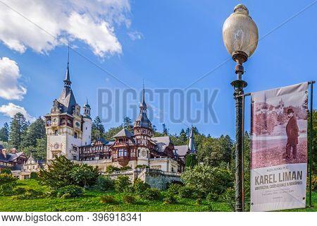 Sinaia, Romania - July 21, 2020: Peleș Castle, A Neo-renaissance Castle In The Carpathian Mountains,