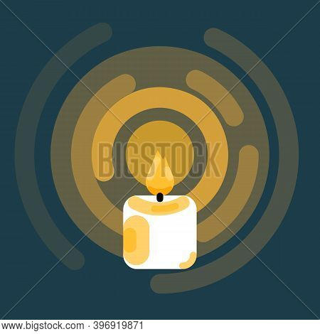 The Candle Burns A Yellow Flame In A Glow On A Dark Background. Candle Icon Best For Symbol Of Idea,