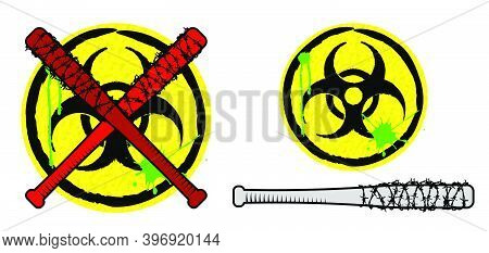Biohazard Sign And Baseball Bats In Barbed Wire. Weapons And Signs Of Zombie Apocalypse. Survival Af