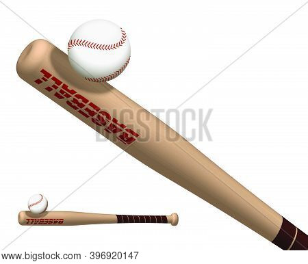 Sports Wooden Baseball Bat Powerfully Hits Flying Ball. American National Sport. Active Lifestyle. R