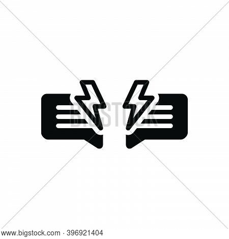 Black Solid Icon For Dispute Issue Fight Quarrel Conflict Brawl Wrangle Collision Lightning