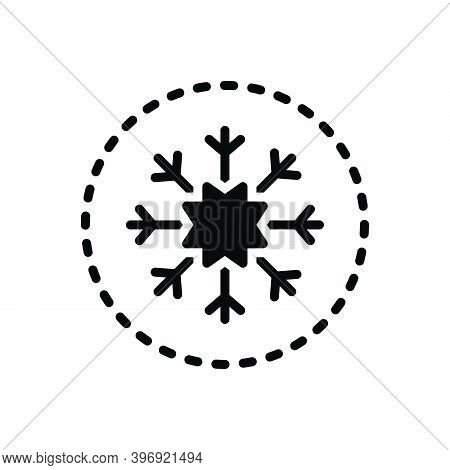 Black Solid Icon For Snow Flake Christmas Ice Sign Winter Freeze Crystal Weather Frost Decoration