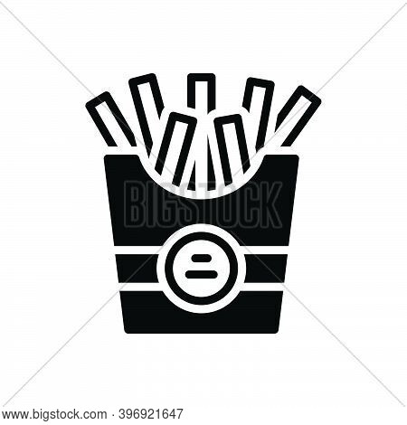 Black Solid Icon For French French-fries Food Eatable Fries Potato-chips Calories Snack Fast-food De