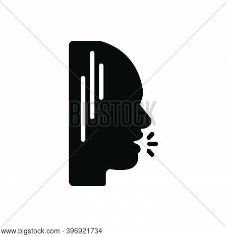 Black Solid Icon For Mouth Maw Speak Talk Shouting Voice Buzz Oral-cavity Open Conversation People