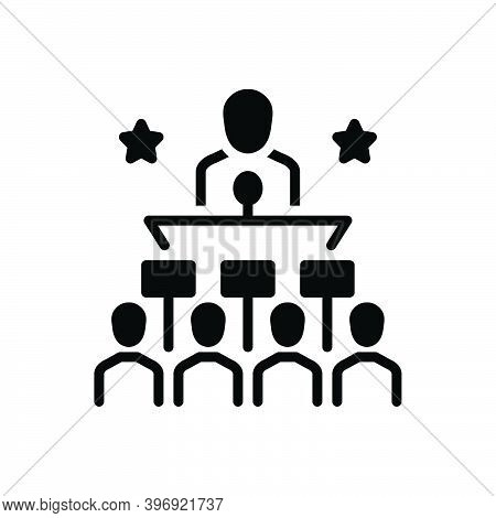 Black Solid Icon For Politically Publicly Governmentally Leadership Speech People Microphone Audienc