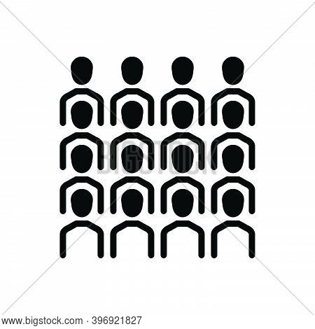 Black Solid Icon For Cluster Group Team Congregation Conglomeration Gather Assemble Crowd Flock Peop
