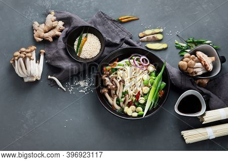 Udon Noodles With Mushrooms And Vegetables