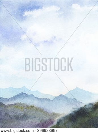 Watercolor Abstract Landscape. Blurred Mountain Ranges Against High Daylight Blue Sky With White Fog