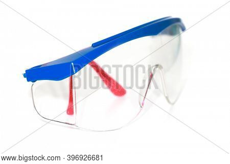 Close up shot of protective industrial eye glasses