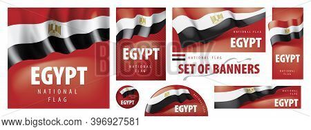 Vector Set Of Banners With The National Flag Of The Egypt