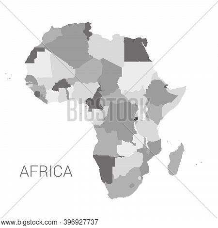 Vector Africa Grey Map. Detailed Africa Map With Borders Of States Isolated On White Background Vect