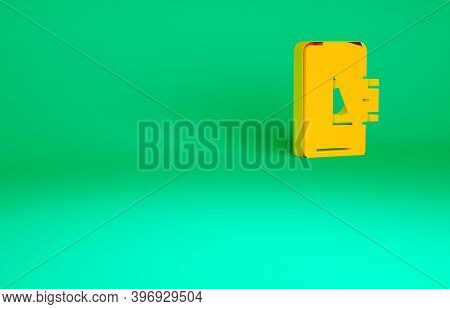 Orange Mobile Banking Icon Isolated On Green Background. Transfer Money Through Mobile Banking On Th