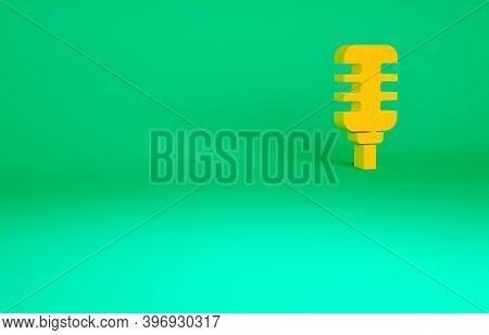 Orange Microphone Icon Isolated On Green Background. On Air Radio Mic Microphone. Speaker Sign. Mini