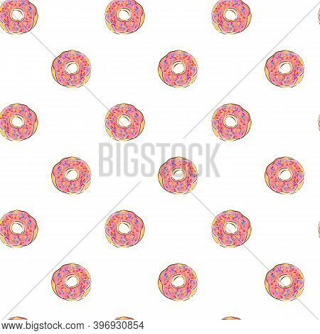 Vector Image Of A Donut With Icing And Sprinkling. Food Sketch Of Baking And Sweet Dessert. Hand-dra