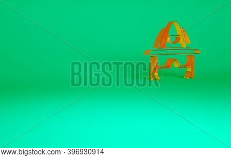 Orange Firefighter Helmet Or Fireman Hat Icon Isolated On Green Background. Minimalism Concept. 3d I