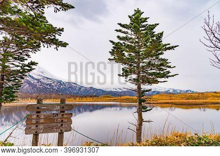 Hokkaido, Japan - May 06 2019 : The First Lake Of Shiretoko Goko Five Lakes, Shiretoko National Park