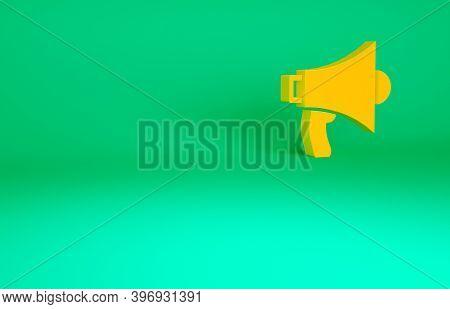 Orange Megaphone Icon Isolated On Green Background. Speaker Sign. Minimalism Concept. 3d Illustratio