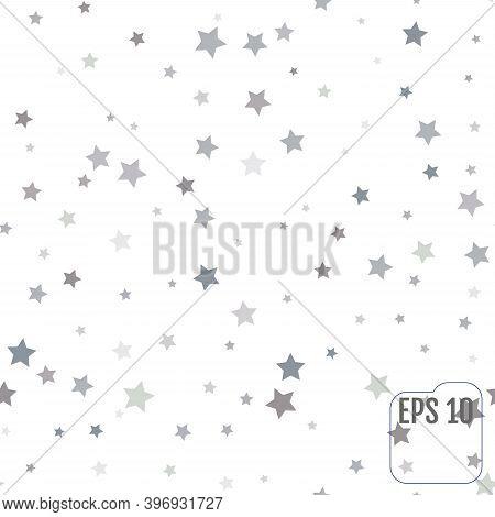 Seamless Pattern With Silver Stars. Silver Stars Confetti Celebration. Vector Illustration